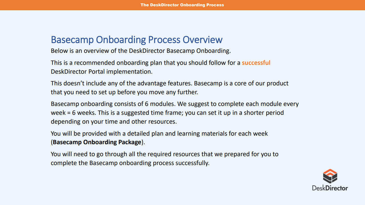 Basecamp Onboarding Overview description