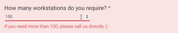 Custom validation message