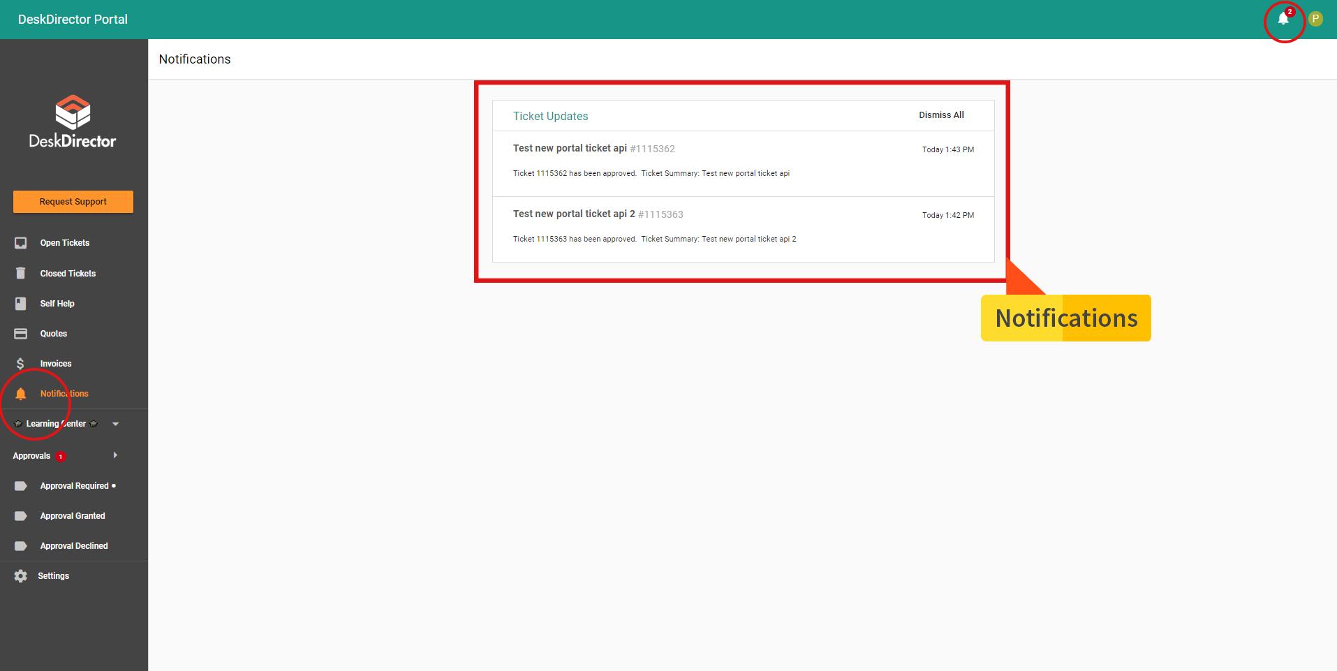 Notifications - client portal