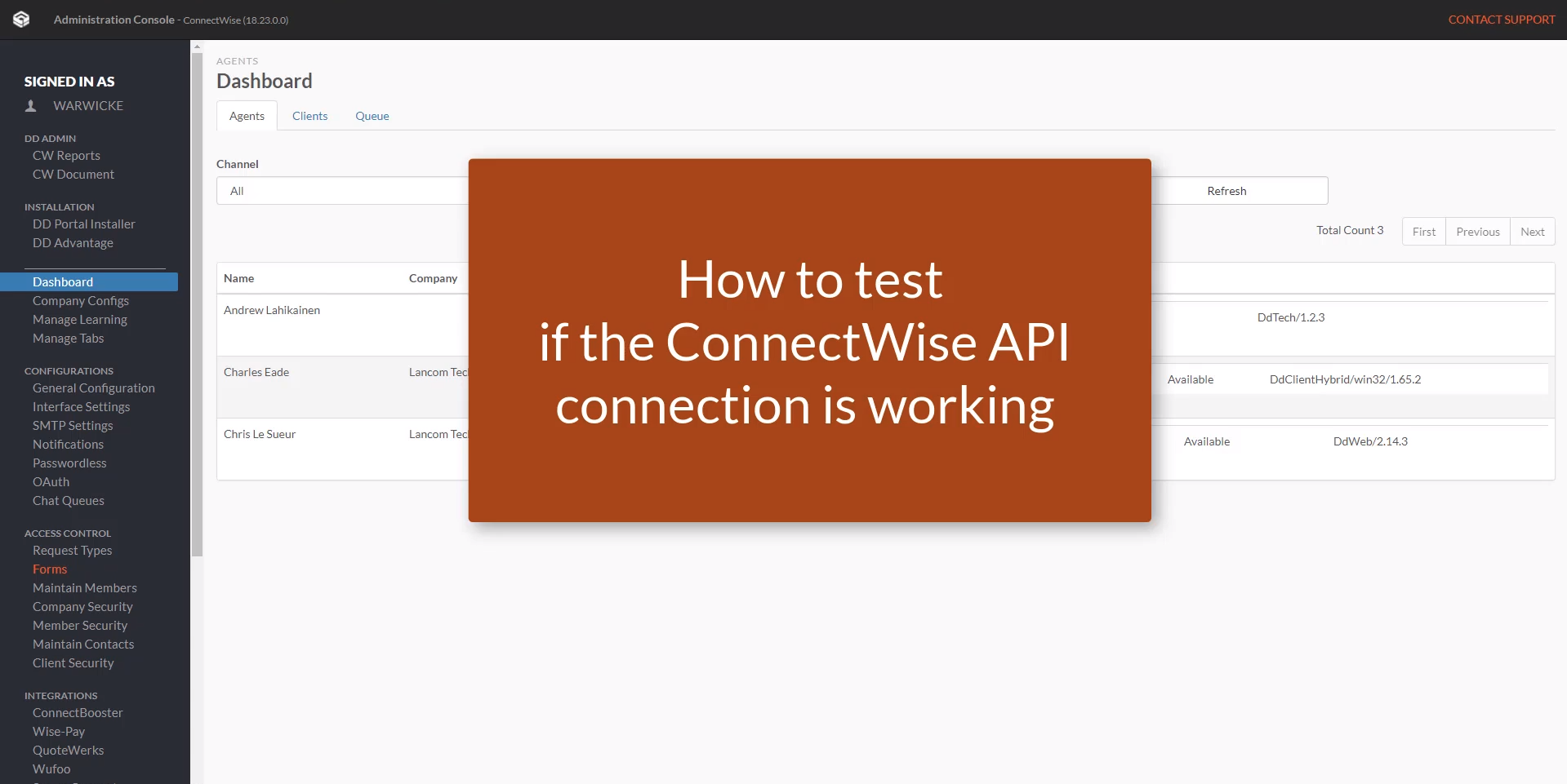 How to test if the ConnectWise API connection is working?